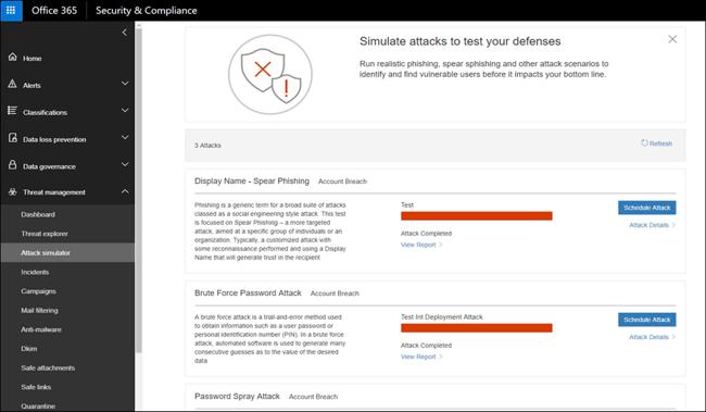 Simulated phishing attack